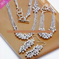SchmuckSet Trauben Halskette Armband Ohrringe 925 Sterling Silber pl. Geschenk !