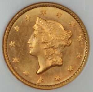 1852 Liberty $1 Dollar Type I US Gold Coin NGC MS-66 GEM BU UNC