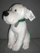 Green Dog  plush white dog  with collar and tag    12 inch   smoke free      NWT
