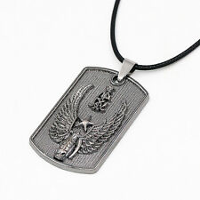 Mens Winged Grenade Pentagram Dog Tag Stainless Steel Pendant Chain Necklace