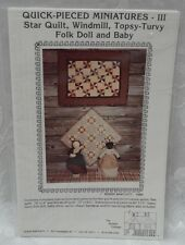 UNCUT Sewing Pattern Quilted Cottage Folk Doll Miniature Star Quilt Windmill Top