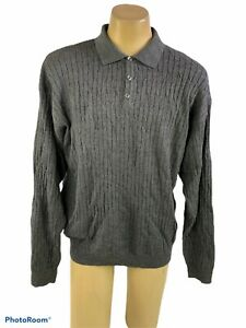 NEW PAOLO MONDO Men's XL Sweater Gray 100% Merino Wool  Collar 1/4 Button