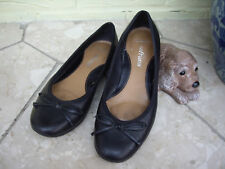 CLARKS BLACK LEATHER SHOES CLARKS SOFTWEAR FLAT COMFORT BALLERINA SHOES ~ 6