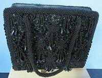 Vintage Black Beaded Sequins Hinged Evening Hand Bag Beaded Rope Handle Art Deco