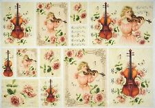Rice Paper for Decoupage Decopatch Scrapbook Craft Sheet Vintage Violin Lessons