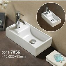 Square Small Mini Cloakroom Bathroom Basin Sink Wall Hung Left Hand 415x21cm