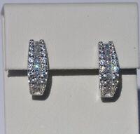 Echt 925 Sterling Silber Ohrringe Creolen mit Zirkonia Hochzeit Nr 250F