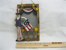 """Vintage Uncle Sam wall hanging 5"""" x 8"""" with screen backing"""
