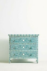 Bone Inlay Floral Design Chest of 3 Drawers Teal Green