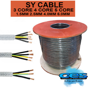 SY CABLE STEEL BRAIDED ARMOURED FLEXIBLE PVC CONTROL CABLE 3,4,5 CORE ALL SIZES