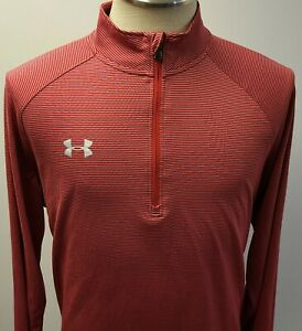 Under Armour Heatgear Loose Performance 1/4 Zip Red Gray Striped Mens XL ~ Used