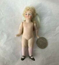 "3 5/8"" Bisque Doll, Jnt'd Shoulders Painted Shoes/Socks, Extravagant Blonde Hair"