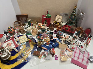 Dollhouse Miniatures Vases Christmas Rug Baby Dishes Wagon Basket Pictures