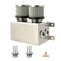 "Aluminium 1.2L Dual Baffled Engine Oil Catch Can Reservoir 2x 19mm 3/4"" Barb SLR"