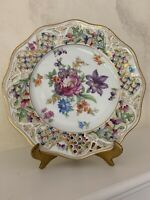 Schumann  Dresden Porcelain Bavaria  Reticulated Plate Flowers Gold 8''
