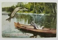 Postcard Get the Net for a Six Foot Pike Being Caught in Henning Minnesota 1912