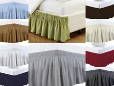 Elastic Wrap Around Bed Skirts 100% Microfiber Queen/King All Size/Drop/Color