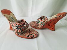 Jimmy Choo 37.5 7.5 Orange Laser Cut Wedges Heels Sandals Shoes  summer fun