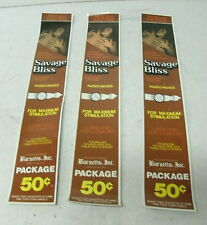"LOT OF 3 ""SAVAGE BLISS"" CONDOM MACHINE WATER SLIDE DECALS VINTAGE, FREE SHIP"