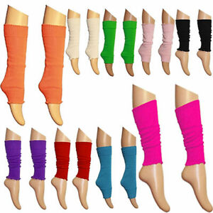 Children Girls Boys Kids Neon Plain Leg Warmer Dance Wear All Colours