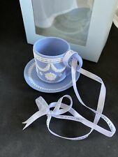 Wedgwood Iconic Blue Jasperwear Teacup Tea Cup & Saucer Ornament Nib.Rare !