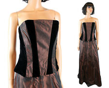 Prom Gown Set 10 Brown Taffeta Black Velvet Skirt Bodice Glitter Long Strapless