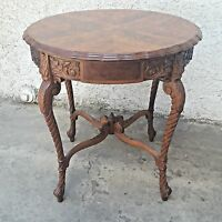 Vintage Walnut Carved French Burl Walnut Side Lamp Parlor Table LA Area