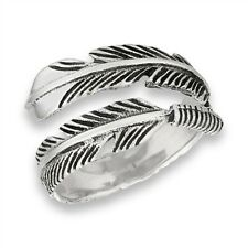 925 Sterling Silver Double Feather Ring Size 6-10