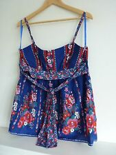 Ladies Lovely New Look Blue Mix Floral Strappy Tie Back Top Size 14, Bnwt