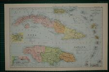 1905 ANTIQUE MAP ~ CUBA & JAMAICA HAVANNA LESSER ANTILLES PLAN KINGSTON SURREY