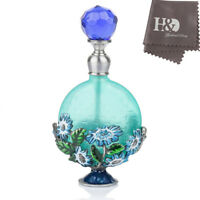 Handmade Vintage Empty Blue Crystal Flower Metal Perfume Bottle Lady Gift 7ml