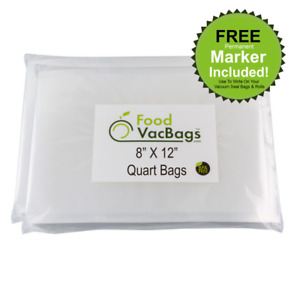 100 Quart 8x12 FoodVacBags Honeycomb Embossed Vacuum Sealer Bags for FoodSaver