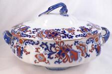 Nankin Flow Blue Soup Tureen Royal Doulton Red Flowers Gold 9242 Antique Beauty