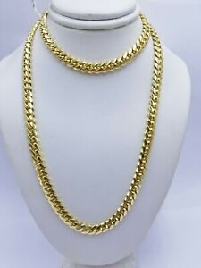 """Solid 14k Gold 6mm 22"""" Chain Miami Cuban Link Necklace mens Women 14kt Yellow Gd"""