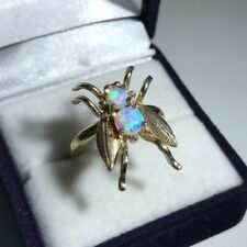 9ct Yellow Gold New Hallmarked Opal Fly Ring Size O