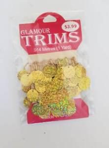 Glamour Trims Gold hologram .914m 1yard BN Dolls clothes craft dance (63)