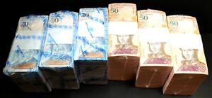 2018 Venezuela $20 & $50 Bolivares UNC 6 Bricks 6000 Pcs New 3 Each SKU037