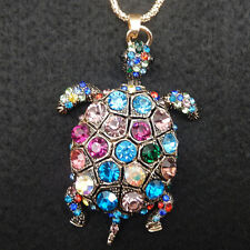 Women's Multi-Color Crystal Turtle Turtoise Pendant Long Chain Necklace
