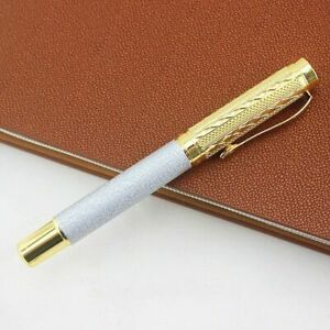 Business Metal Ballpoint Pen Matte Silver Roller Ballpen Writing Stationery Gift