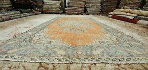 """Antique 1930-1940's Wool Pile Natural Dye Distressed Oushak Area Rug 5'7""""× 9'2"""""""