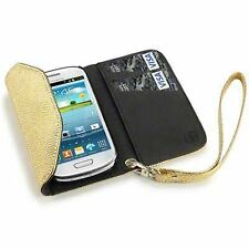 PU Leather Purse Wallet Case Gold Snakeskin For Samsung Galaxy S3 Mini i8190