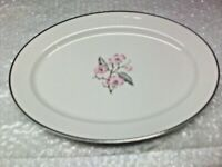 "1960's Patricia by Syracuse China Pink Flowers 12"" Oval Serving Platter"