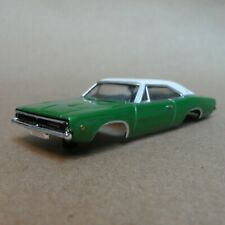 1968 1969 Dodge Charger HO scale green white plastic slot car body