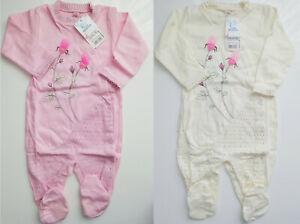100% Cotton Baby girls babygrows 6-12 months NEW Pyjamas SLEEPSUITS