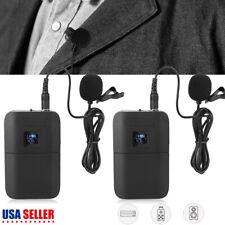 Portable Mic Transmitter Set Mini Wireless Cordless Clip-on Lapel Tie Microphone