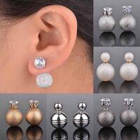 Mode Lady Celebrity Double Cristal Ball Bead Oreille Boucles d'oreilles Bijoux