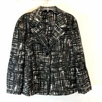 Ann Taylor Black/White Textured Casual Cotton Career Jacket/Coat Blazer 14