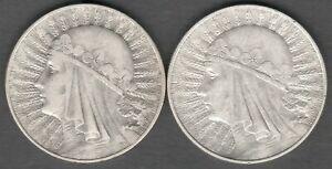 Poland 10  Zlotych 1933 Queen Judwiga , 2 High Grade Silver coins , coin