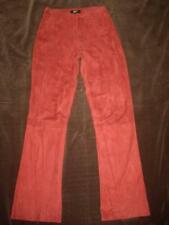Philippe Adec Paris Red Suede Leather Pants w/ Laser Cutout Hem Detailing Size 2
