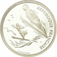 [#737796] Coin, France, Ski jumpers, 100 Francs, 1991, BE, MS, Silver, KM:995